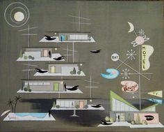 Mid Century Modern style artwork signed CZM by modern artist El Gato Gomez Mid Century Art, Mid Century House, Mid Century Modern Design, Retro Futuristic, Modern Artists, Googie, Retro Art, Retro Design, Disney Art