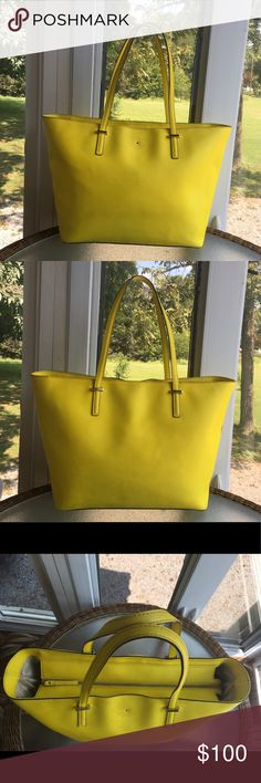 "♠️Kate Spade♠️Cedar Street Medium Harmony Tote🍋 ♠️Kate Spade♠️Cedar Street Medium Harmony Tote  Good condition.Crosshatched saffiano leather.Over the shoulder zip top closure.Interior is clean,No damage,No rips,No tears.Exterior is clean with 1 marks and the bottom has some stains as seen in pictures.Two flat handles are good condition.Roomy enough for lap top work and school.This bag make your daily activities easy and stylish.Came from a smoke free and pet free home.  Size: 12.9"" W x…"