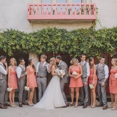 Rhiannon  Chris hosted a joyous, fun, DIY-filled wedding celebration in shades of coral and grey at Clarke Estate (via Anna Delores Photo)