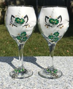 Unicorn Wine Glasses With Hand Painted Shamrocks and Wine Glass Charms Set of Irish Gifts, Christmas Gifts, Gifts For Her, Unicorn Lover Hand Painted Wine Glasses, Holiday Candy, Wine Glass Charms, Handmade Items, Handmade Gifts, Girl Gifts, Gifts For Her, Etsy, Christmas Gifts