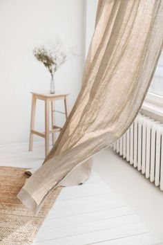 Window Drapes, Panel Curtains, Grey Linen Curtains, Natural Bedroom Curtains, Box Deco, Piece A Vivre, Natural Linen, Room Inspiration, Studios