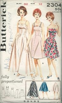 An original ca. 1963 Butterick Pattern 2304.  View A; Fitted bodice, narrow straps, full floor length slip. View B; Street length, lace beading straps and lace trim. View C; Strapless, street length. View D; Floor length petticoat. View E; Street length petticoat. - oh, and apparently Mike Overton called!  :)