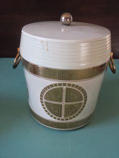 Ice Bucket Mid Century Barware White and by HemmerHomeGoods