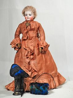 BEAUTIFUL FRENCH POUPEE ATTRIBUTED TO ROHMER. Wears cotton dress circa 1870