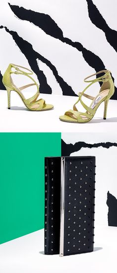 Bold studs sharply contrast sleek leather in this chic combination from Jimmy Choo. shop this look plus many more in our Jimmy Choo spring event.