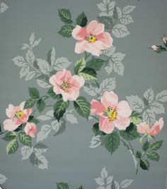 Rosie's Vintage Wallpaper - 1950's Vintage Wallpaper Pink Magnolia on Blue Gray, $130.00 (http://www.rosiesvintagewallpaper.com/1950s-vintage-wallpaper-pink-magnolia-on-blue-gray/)