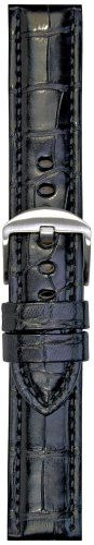Hadley-Roma Mens MS2018RA-240 24-mm Black Genuine Alligator Leather WatchStrap