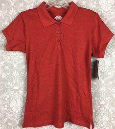 Dickies Girls Polo Shirt L (14/16) School Wear Uniform Short Sleeves Red - B31a #Dickies #PoloShirt