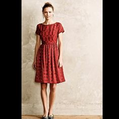 """Anthropologie Moulinette Soeurs Rubied Lace Dress Anthropologie / Moulinette Soeurs red, red wine lace fit & flare red lace with metallic """"Rubied Lace Dress""""   Fit-and-flare silhouette   Back zip   Regular falls 39"""" from shoulder               New Without Tags  *  Size:  8               retail price:  $188.00  cotton-nylon-polyester lace  polyester lining   Falls 39"""" from shoulder   Model is 5'9"""" Anthropologie Dresses"""