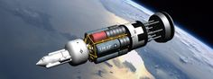 My Orion nuclear pulse vehicle in Earth orbit.  I understand that in the 1960s the idea was that spacecraft of this type, armed with nuclear weapons, would sit atop Saturn boosters in hardened silos across the US, ready to be launched into orbit if...