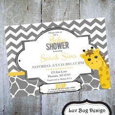 GIRAFFE Themed Baby Shower or Gender Reveal by luvbugdesign, $14.00