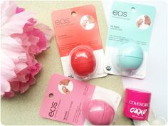 EOS & COVERGIRL LIPBALMS  ♥ Eos Lipbalm in Summer Fruit, Sweet Mint and Strawberry Sorbet ♥ Covergirl Smoochies oxxo lipbalm in Pink Punch Strawberry Sorbet, Pink Punch, Summer Fruit, Covergirl, Lip Balm, Eos, Mint, Sweet, Candy