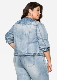 Fringe Collar Jean Jacket - Ashley Stewart