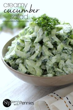 Creamy Cucumber Salad! You can use Greek yogurt or sour cream for a delicious side everyone will love!
