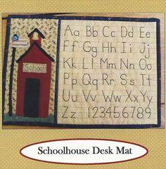 Primitive Folk Art Quilt Applique Pattern: SCHOOLHOUSE DESK MAT