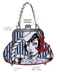 Rockabilly Purses: Sailor Girl Pinstripe Rockabilly Purse
