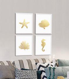 Four Prints Beach Art Prints Faux Gold Foil by CocoAndJamesHome
