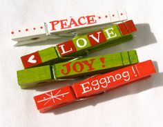 CHRISTMAS CLOTHESPIN hand painted magnetic pegs eggnog peace - various styles available (etsy)
