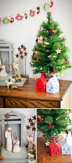 Sugar + Spice Design: christmas tree, oh christmas tree - would try this on my foyer table
