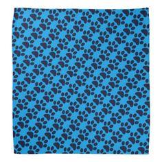 dog bandana dark blue paw prints pattern