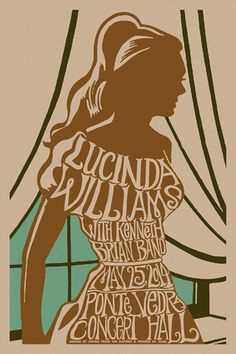 #gigposter for Lucinda Williams, and Kenneth Brian Band. Design by Swing From The Rafters.