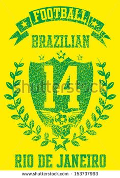 WORLD CUP 2014 Brazilian Football Retro Style Vector Art - 153737993 : Shutterstock