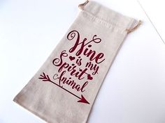 Wine is my Spirit Animal, Linen Wine Bottle Bag, Reusable Wine Bags, Funny Wine Lovers Gift Bag by LadyInPurpleJewelry on Etsy
