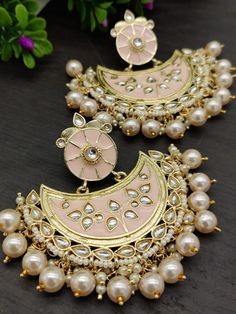 Order Wedding Earrings via Whatsapp on Our fashion magazine personal shoppers helps you get the stylish look for you. Indian Jewelry Earrings, Indian Jewelry Sets, Fancy Jewellery, Jewelry Design Earrings, Gold Earrings Designs, Indian Wedding Jewelry, Ear Jewelry, Stylish Jewelry, Bridal Jewellery