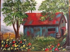 """Karen Brown painted """" Forgotten Barn""""  Love all the flowers and bright colors. https://youtu.be/N0DGNc7ISXs  YouTube step by Step tutorial. Ginger Cook LIve"""