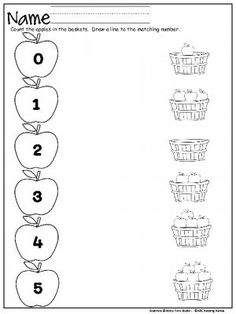 Apple Number Matching Worksheet (0-5) for Kindergarten and PreK.