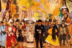 Maira: Mural por Diego Rivera: Sueño de una tarde dominical en la Alameda Central (1946-1947). Diego Rivera incluye la imagen de La Catrina y de su creador José Guadalupe Posada (a la derecha).