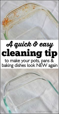 This is a very simple cleaning tip that will help you clean the baked on grease off your pots and pans, and have them looking new again! | Ask Anna