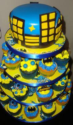 Cupcakes using M&Ms and, again, Batman rings.
