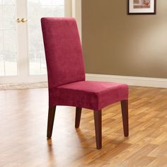 Sure Fit Smooth Suede Shorty Dining Room Chair Cover