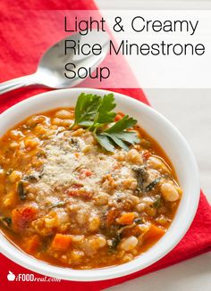 Hearty classic Italian soup with cannellini beans, whole grain brown rice, seasonal vegetables and fresh herbs. Creamy one-dish meal with no added cream or starch.