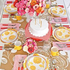 Colorful Birthday Table Setting | Nashville designer Gen Sohr combines vivid hues of yellow, pink, and red with ample floral prints to create a cheery birthday brunch with a retro vibe. | SouthernLiving.com