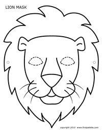 pdf masque lion noir et blanc Animal Mask Templates, Printable Animal Masks, Animal Masks For Kids, Mask For Kids, Animal Face Mask, Animal Faces, Face Masks, L Is For Lion, Papier Kind