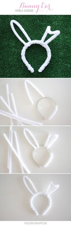 Make an easy DIY Bunny Ear Chenille Headband in minutes! These are perfect for Easter parties and egg hunts! For more Easter ideas, visit Kim Byers on The Celebration Shoppe!