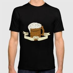 Medieval Beer Mug Foam Drawing Drawing sketch style illustration of a medieval beer mug with foam set on isolated white background with ribbon done in retro style. #illustration #MedievalBeerMug