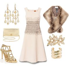 Tory Burch gold party outfit