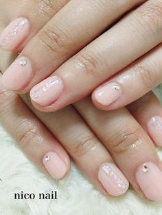 浜松市 中区 自宅ネイルサロン nico nail ニコネイル:晩夏のハンドネイル(グリーンの大理石風ネイルとシェルネイル)