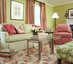 Palm Beach Living Room- Drapes in Plover Geranium. Pillows in Barclay Raspberry and Darjeeling Sorbet. Beach Living Room, Cozy Living Rooms, Living Room Decor, Living Spaces, Calico Corners Fabric, Light Green Walls, Green Painted Walls, Floral Sofa, E Design