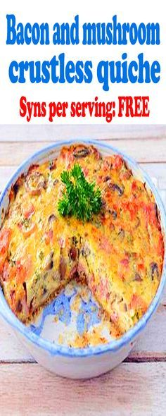 Slimming world Bacon and mushroom crustless quiche,free syns. Slimming world Bacon and mushroom crustless quiche,free syns. Slimming World Lunch Ideas, Slimming World Desserts, Slimming World Dinners, Slimming World Chicken Recipes, Slimming World Breakfast, Slimming World Recipes Syn Free, Slimming World Syns, Slimming Eats, Slimming Word
