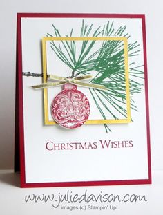 VIDEO tutorial for Double Layer Stamping Tutorial with Stampin' Up! Ornamental Pine Christmas card #stampinup www.juliedavison.com