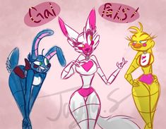 I honestly fell in love with these three when I first found this game, and yes it was FNAF 2 that was the first game I played in the series. Chica Anime Manga, Thicc Anime, Star Fox, Fnaf Drawings, Cute Drawings, Five Nights At Anime, Foxy And Mangle, Adventure Time Girls, 2 Kind