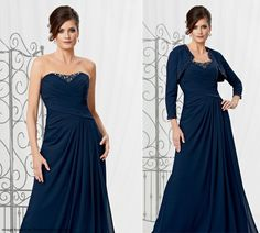 Navy crinkle chiffon mother-of-the-bride gown