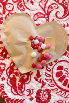 Simple Candy-Filled Brown Paper Valentines (with sewn edges)