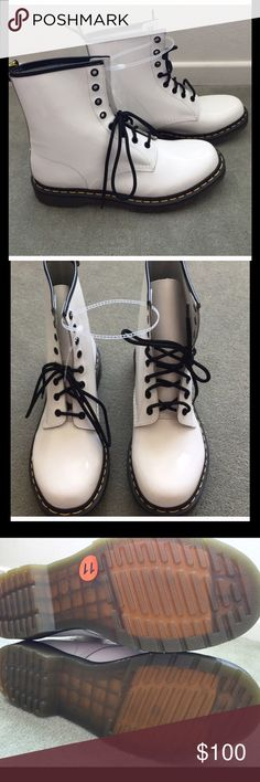 """NWOT """"Dr Martens"""" Boots NWOT """"Dr Martens"""" Boots. Size 11. They have 2 scuff marks which are shown in the last picture otherwise they are in excellent condition. So gorgeous. Thanks for looking and feel free to ask me any questions 😊 Dr. Martens Shoes"""