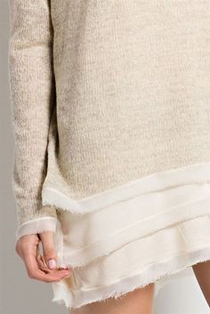 Super cozy wide neck sweater with length sleeves. Lovely layers of chiffon lined the neckline, bottom, and sleeves. - Color Available: Heather Grey. Boutique Style, Luxe Boutique, Fashion Boutique, Fashion Details, Diy Fashion, Diy Vetement, Refashioning, Diy Clothing, Knitwear