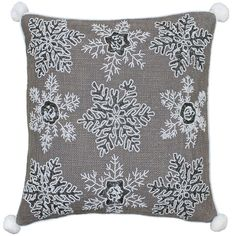 Inject some fun into your Christmas room display with this Riva Paoletti Christmas cushion cover. Embroidered with hundreds of gorgeous sequins in a snowflake design, intertwined with metallic thread on a mocha woven front and complete with white pompom corners.